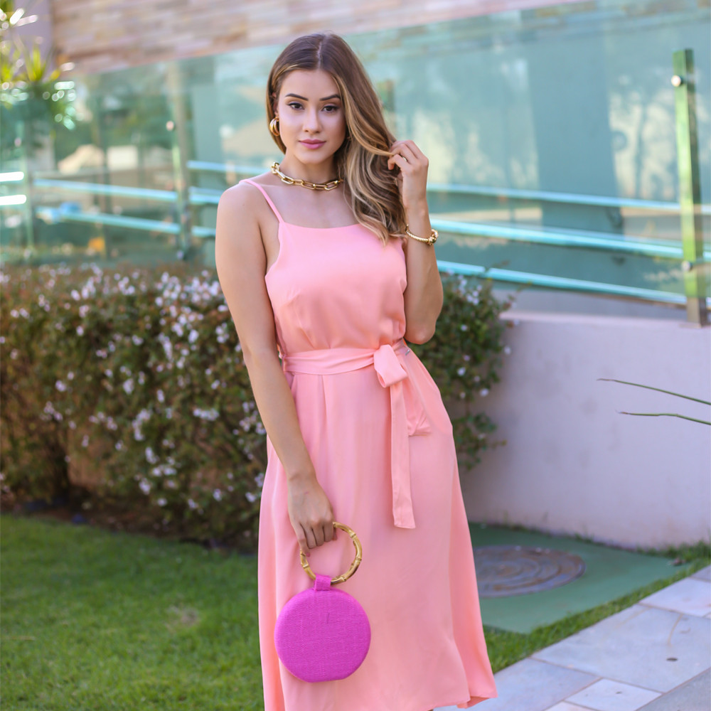 Vestido Feminino Com Alça Fina e Cinto Em Tecido B480
